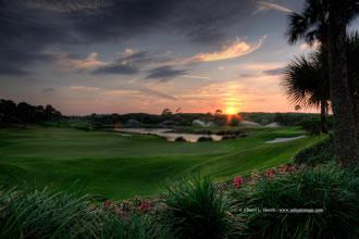 Sunset on Links Course #9 - Private Oceanfront Golf Course & Clubhouse in Palm Coast, Florida
